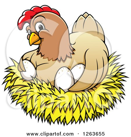 Clipart of a Happy Hen Hugging Chicken Eggs in a Nest - Royalty Free Vector Illustration by Vector Tradition SM