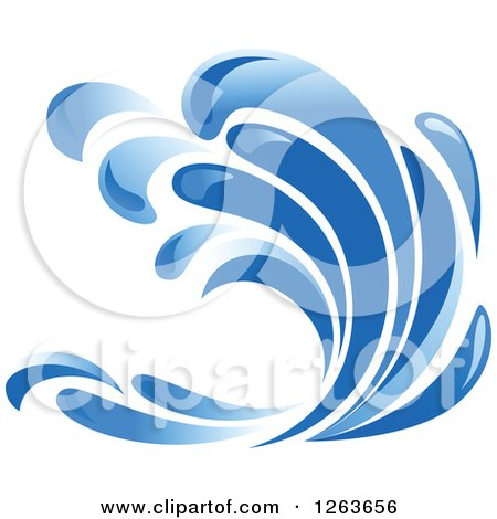 Clipart of a Blue Ocean Surf Wave - Royalty Free Vector Illustration by Vector Tradition SM