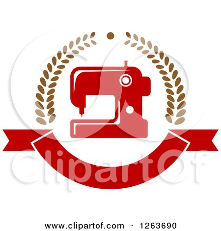 Clipart of a Red Sewing Machine in a Laurel and Ribbon Banner Wreath - Royalty Free Vector Illustration by Vector Tradition SM