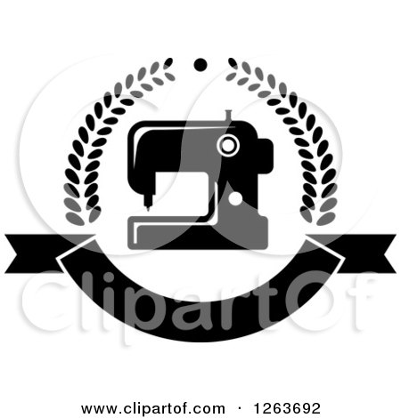 Clipart of a Black and White Sewing Machine in a Laurel and Ribbon Banner Wreath - Royalty Free Vector Illustration by Vector Tradition SM