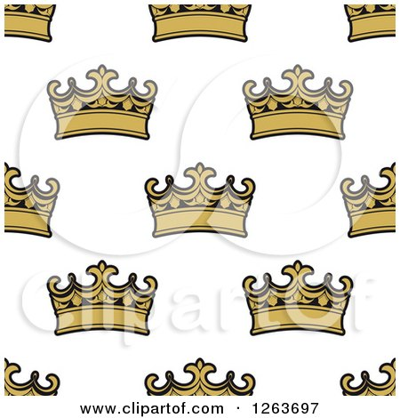 Clipart of a Seamless Pattern Background of Gold Crowns - Royalty Free Vector Illustration by Vector Tradition SM
