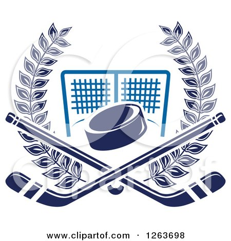 Clipart of a Blue Hockey Puck and Crossed Sticks over a Goal Net in a Laurel Wreath - Royalty Free Vector Illustration by Vector Tradition SM