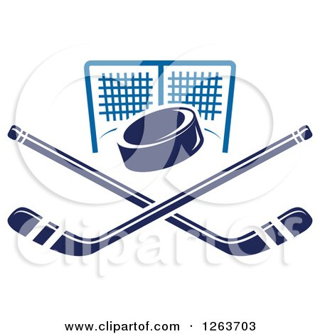 Clipart of a Hockey Puck over Crossed Sticks and a Goal Net - Royalty Free Vector Illustration by Vector Tradition SM