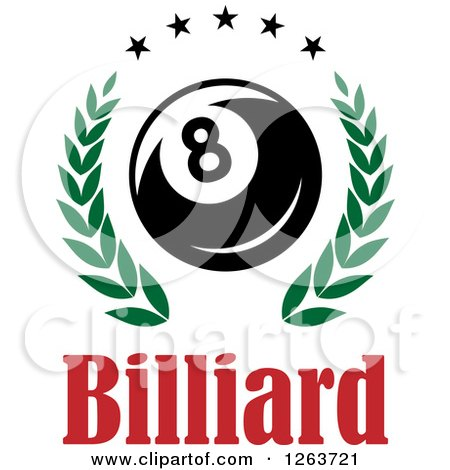 Clipart of a Billiards Eight Ball in a Green Laurel Wreath with Stars over Text - Royalty Free Vector Illustration by Vector Tradition SM
