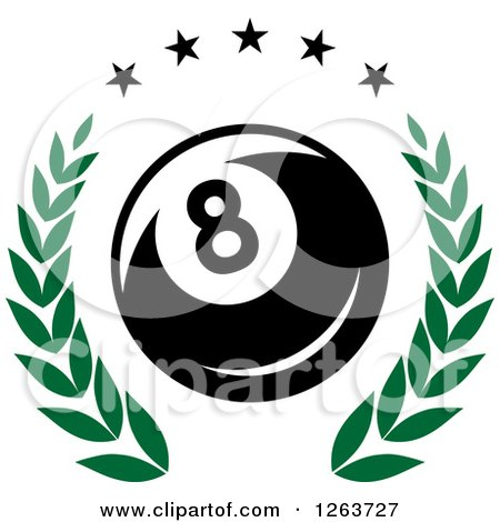 Clipart of a Billiards Eight Ball in a Green Laurel Wreath with Stars - Royalty Free Vector Illustration by Vector Tradition SM