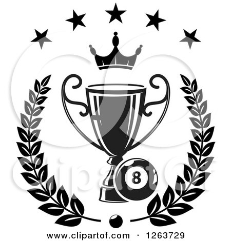 Clipart of a Black and White Billiards Eight Ball with a Crown and Trophy in a Laurel Under Stars - Royalty Free Vector Illustration by Vector Tradition SM