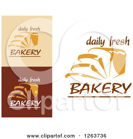 Clipart of Sliced Bread and Daily Fresh Bakery Text Designs - Royalty Free Vector Illustration by Vector Tradition SM