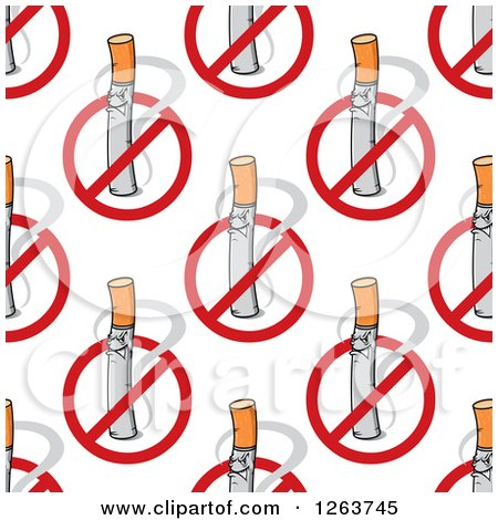 Clipart of a Seamless Pattern Background of Cigarettes and No Smoking Symbols - Royalty Free Vector Illustration by Vector Tradition SM
