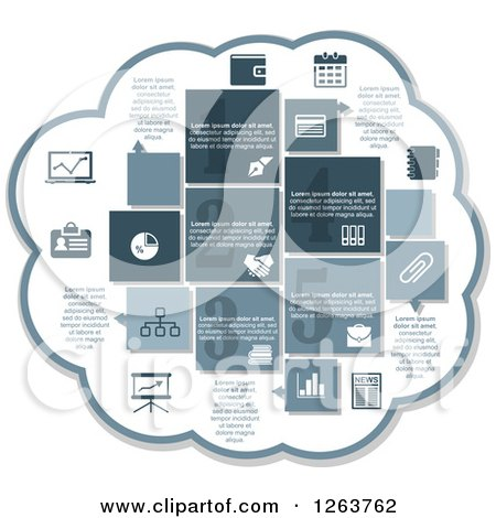 Clipart of a Cloud with Business Infographic Icons of a Chart, Wallet, Money, Calendar, Diary, Files, Handshake, Briefcase, News, Books, Graph, Pen and Pie Chart - Royalty Free Vector Illustration by Vector Tradition SM