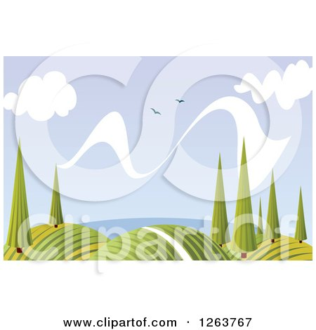 Clipart of a Nature Background of Hills Trees and Birds - Royalty Free Vector Illustration by Vector Tradition SM