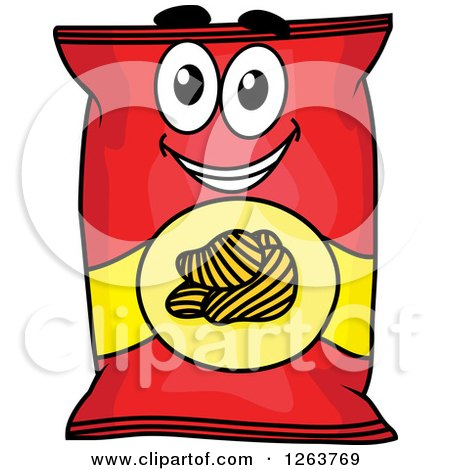 Clipart of a Happy Potato Chip Bag - Royalty Free Vector ...