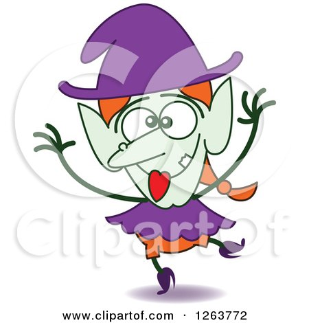 Clipart of a Halloween Witch Being Silly - Royalty Free Vector Illustration by Zooco