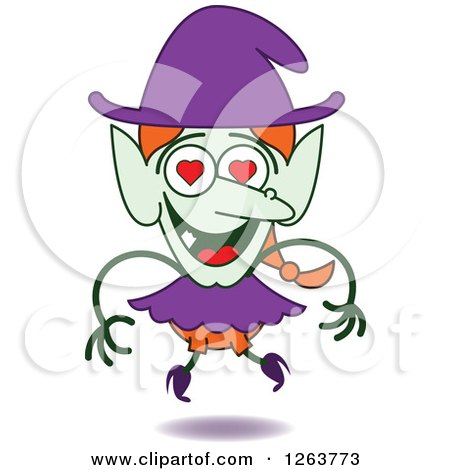 Clipart of a Halloween Witch in Love - Royalty Free Vector Illustration by Zooco