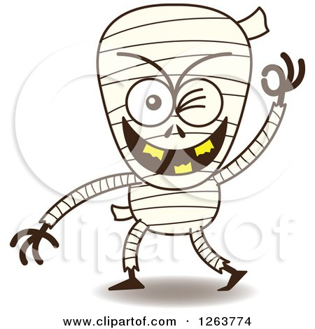 Clipart of a Halloween Mummy Winking - Royalty Free Vector Illustration by Zooco