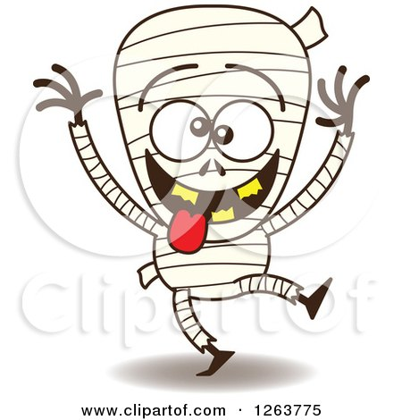 Clipart of a Halloween Mummy Being Silly - Royalty Free Vector Illustration by Zooco