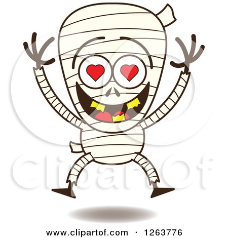 Clipart of a Halloween Mummy in Love - Royalty Free Vector Illustration by Zooco