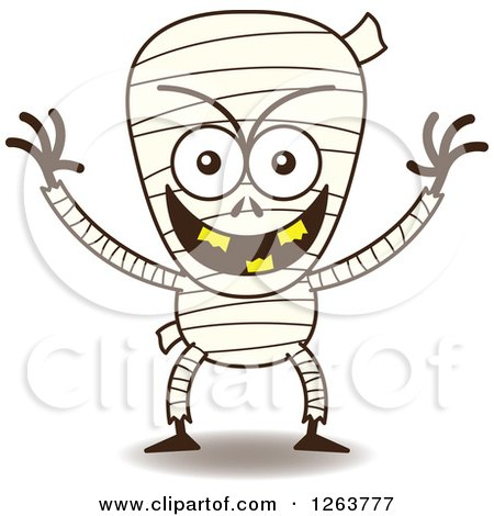 Clipart of a Halloween Mummy Being Mischievous - Royalty Free Vector Illustration by Zooco