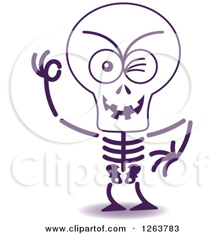 Clipart of a Halloween Skeleton Winking - Royalty Free Vector Illustration by Zooco
