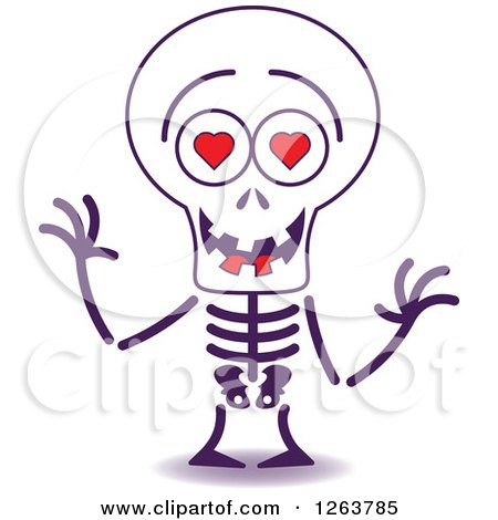 Clipart of a Halloween Skeleton in Love - Royalty Free Vector Illustration by Zooco