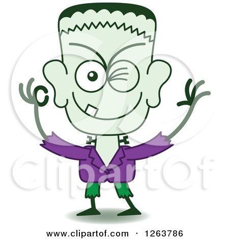 Clipart of a Halloween Frankenstein Winking - Royalty Free Vector Illustration by Zooco