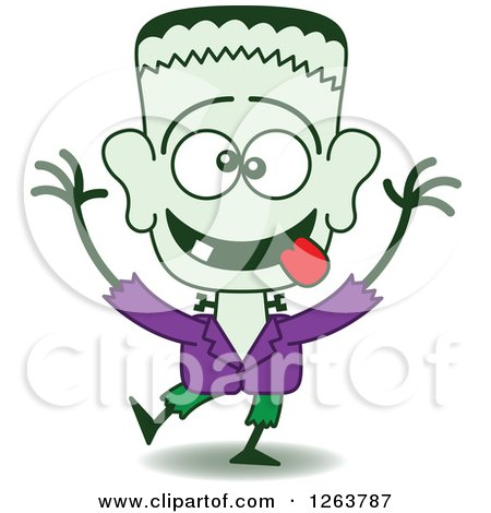 Clipart of a Halloween Frankenstein Being Silly - Royalty Free Vector Illustration by Zooco