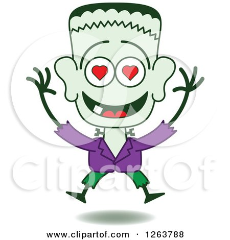 Clipart of a Halloween Frankenstein in Love - Royalty Free Vector Illustration by Zooco