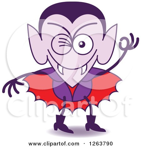Clipart of a Halloween Dracula Vampire Winking - Royalty Free Vector Illustration by Zooco