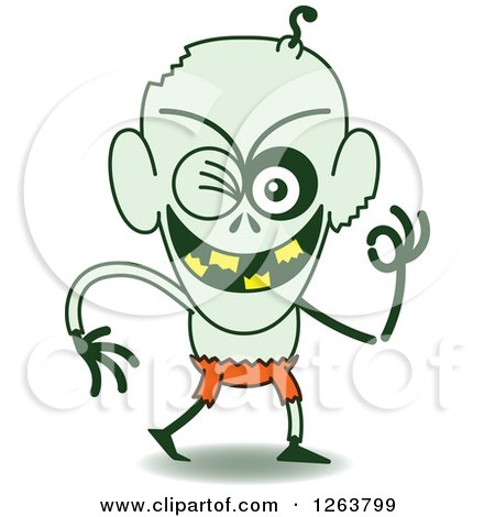 Clipart of a Halloween Zombie Winking - Royalty Free Vector Illustration by Zooco