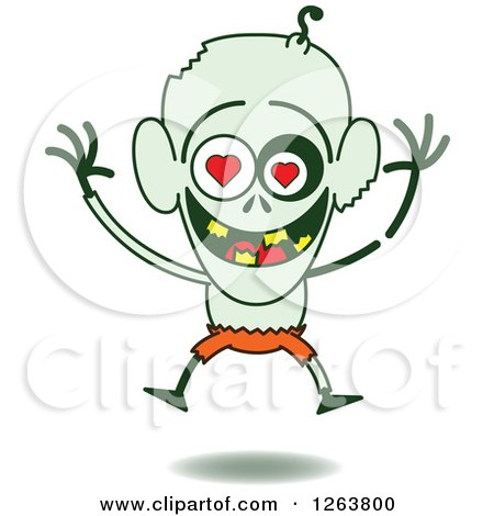 Clipart of a Halloween Zombie in Love - Royalty Free Vector Illustration by Zooco