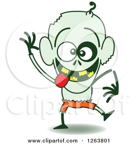 Clipart of a Halloween Zombie Being Silly - Royalty Free Vector Illustration by Zooco