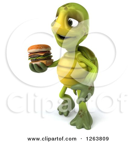 Clipart of a 3d Tortoise Holding a Double Cheeseburger - Royalty Free Illustration by Julos