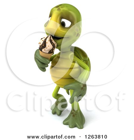 Clipart of a 3d Tortoise Eating an Ice Cream Cone - Royalty Free Illustration by Julos