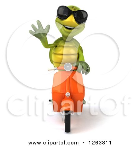 Clipart of a 3d Tortoise Wearing Sunglasses, Waving and Driving a Scooter - Royalty Free Illustration by Julos