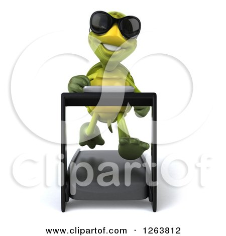 Clipart of a 3d Tortoise Wearing Sunglasses and Running on a Treadmill - Royalty Free Illustration by Julos