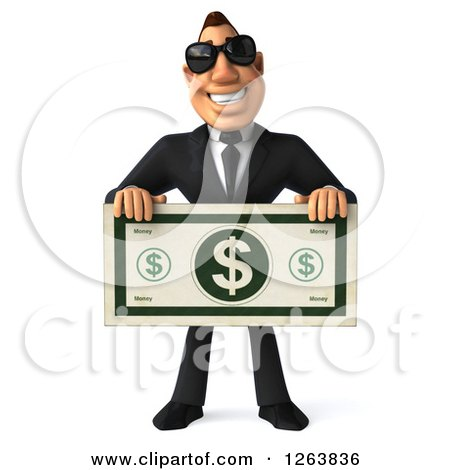 3d White Businessman Wearing Sunglasses and Holding out a Giant Dollar Bill Posters, Art Prints