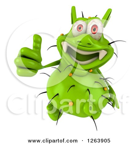 Clipart of a 3d Green Germ Giving a Thumb up - Royalty Free Illustration by Julos