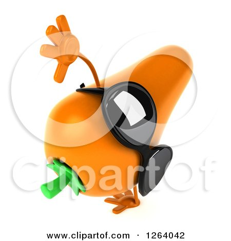 Clipart of a 3d Carrot Mascot Wearing Sunglasses and Cartwheeling - Royalty Free Vector Illustration by Julos