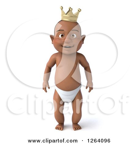 Clipart of a 3d Black Baby Boy Standing in a Crown - Royalty Free Vector Illustration by Julos