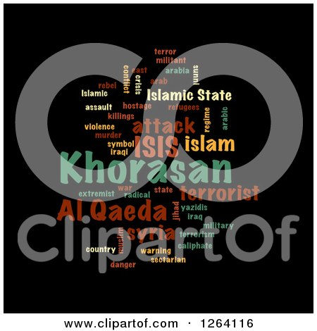 Clipart of a Colorful KHORASAN, ISIS and Al Qaeda Word Collage on Black - Royalty Free Illustration by oboy