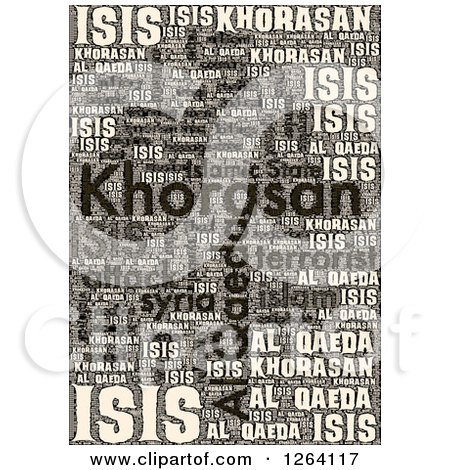 Clipart of a Grungy KHORASAN, ISIS and Al Qaeda Word Collage - Royalty Free Illustration by oboy