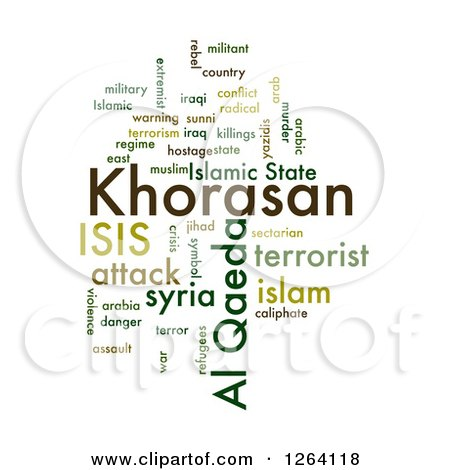 Clipart of a Green KHORASAN, ISIS and Al Qaeda Word Collage on White - Royalty Free Illustration by oboy