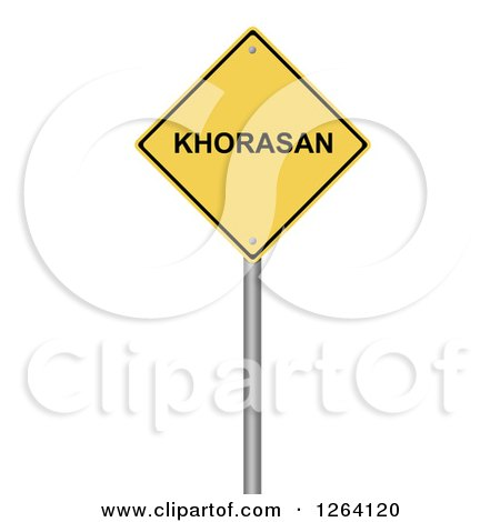 Clipart of a 3d Yellow KHORASAN Warning Sign over White - Royalty Free Illustration by oboy