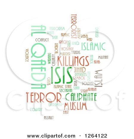 Clipart of an ISIS and Al Qaeda Word Tag Collage on White - Royalty Free Illustration by oboy
