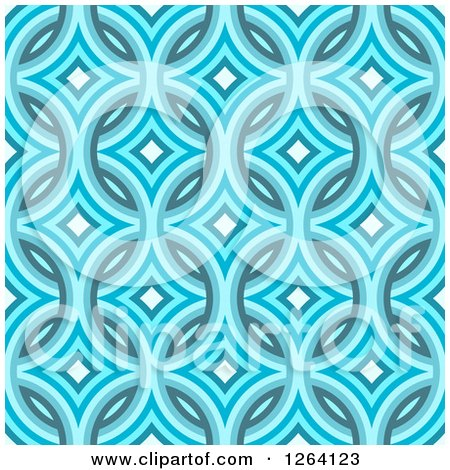 Clipart of a Seamless Blue Diamond Damask Pattern Background - Royalty Free Illustration by Arena Creative