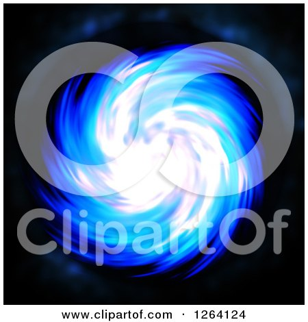 Clipart of a Glowing Blue Fractal Spiral on Black - Royalty Free Illustration by Arena Creative