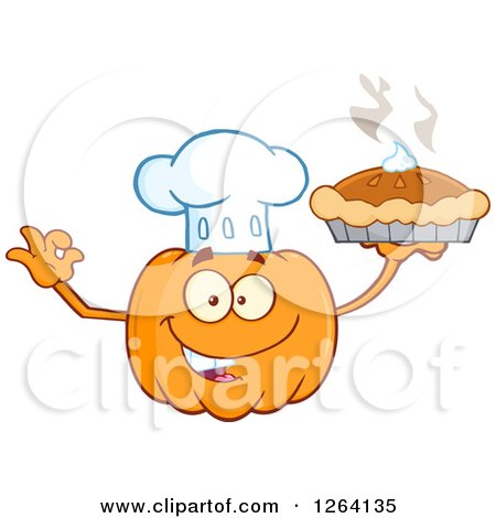 Clipart of a Happy Pumpkin Chef Character Holding up a Pie - Royalty Free Vector Illustration by Hit Toon