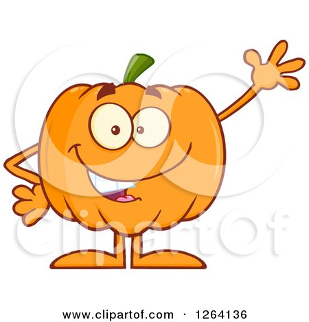 Clipart of a Waving Pumpkin Character - Royalty Free Vector Illustration by Hit Toon