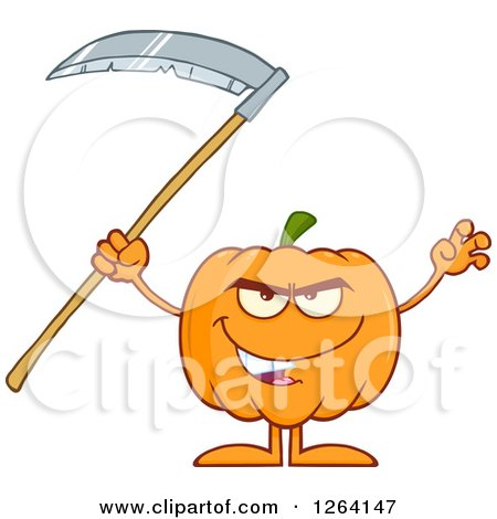 Clipart of a Pumpkin Character Holding a Scythe - Royalty Free Vector Illustration by Hit Toon