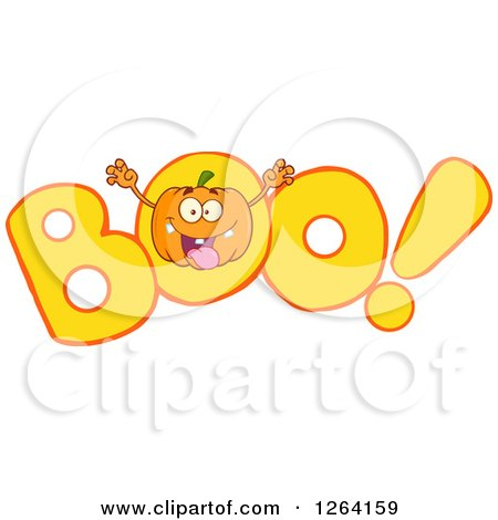 Clipart of a Pumpkin Character Scaring in BOO - Royalty Free Vector Illustration by Hit Toon