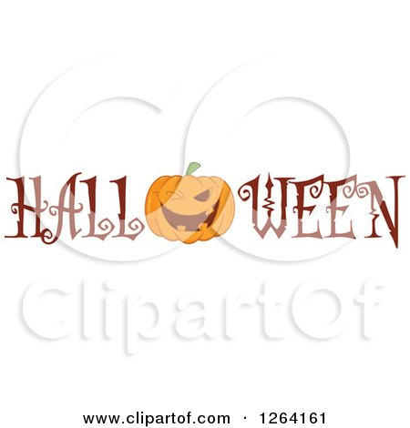 Clipart of a Winking Pumpkin Character in Halloween Text - Royalty Free Vector Illustration by Hit Toon